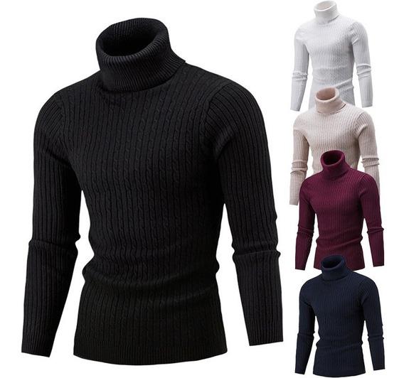 Suéter Hombres Cuello Alto Punto Invierno Con Cuello Suave