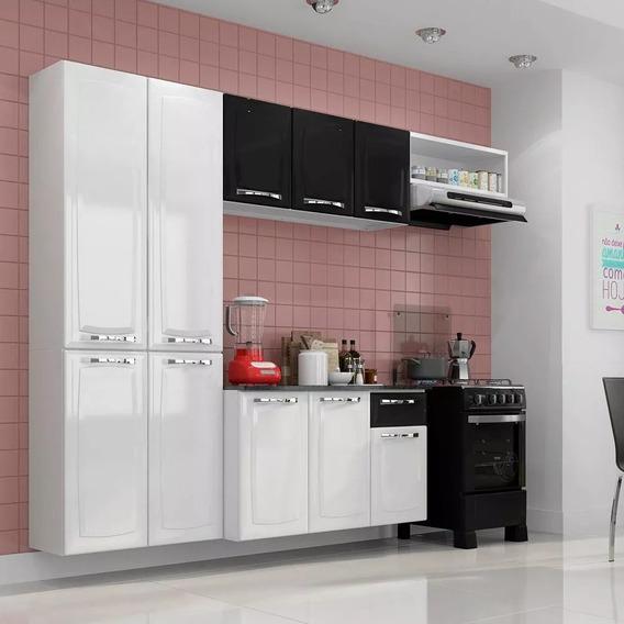 Cozinha Aço Compacta Amanda C/ Tampo Armário Aéreo Gabinete