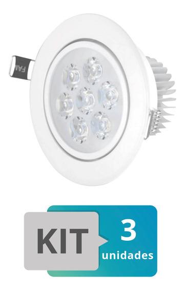 Kit 3 Spot Led Embutir Redondo Direcionável 7w Branco Frio