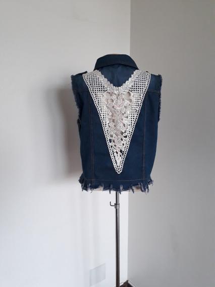 Colete Jeans Azul Escuro Com Renda Feminino Customizad Unico