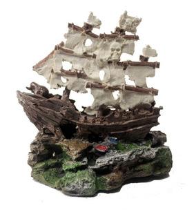 Adorno Barco Pirata Para Pecera Acuario De Resina Oferta !
