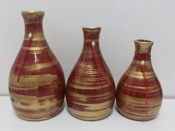 Trio De Vasos Em Cerâmica