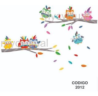 Vinilo Decorativo Pared Infantil Búhos Indiecitos 150 Ancho