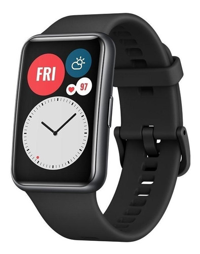 Huawei Watch Fit 1.64  Caja De  Fibra Polimérica  Black Malla  Graphite Black De  Silicona Tia-b09