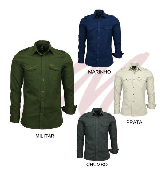 Kit 03 Camisa Masculina Slim Paris M Longa Estilo Militar