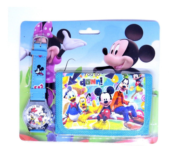 Relógio + Carteira 3d Minnie Mouse Analógico Azul Oferta 006