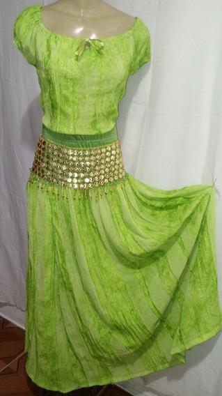 Conjunto De Saia E Blusa Cigana Verdes