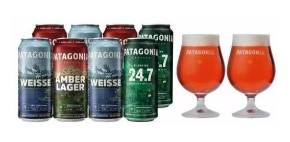 Cerveza Patagonia 473 Cc 8 Unidades + 2 Tulipas