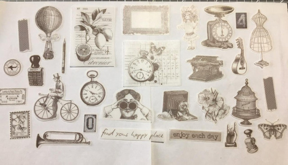 Stickers Vintage Scrapbooking. Junk Journal