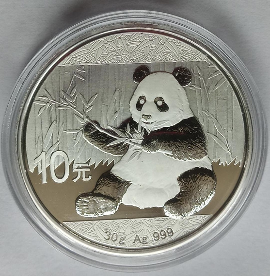 Moneda Onza Panda China 2017 Plata 999 Capsula Sin Circular