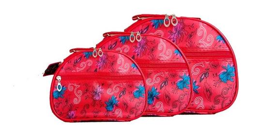 Kit Necessaire Flores Azuis Com 3 Maletas My Girl Wincy