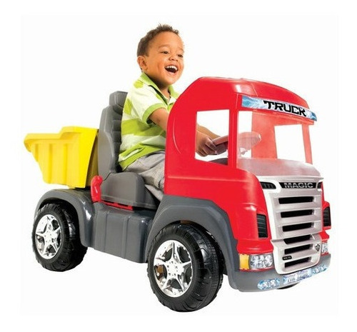 Imagem 1 de 8 de Caminhão Infantil  Top Truck Pedal Som Luz Vermelho 9300