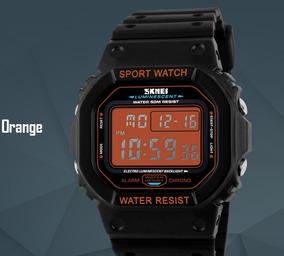 Relógio Masculino Skmei 1134 Digital Preto E Laranja