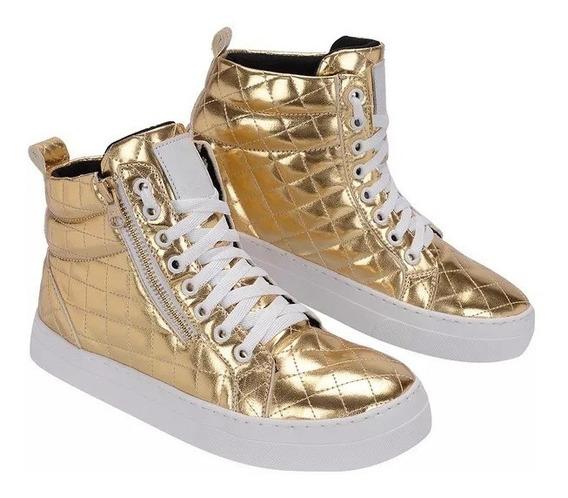 Bota Feminina Treino Academia Sneaker Dourada