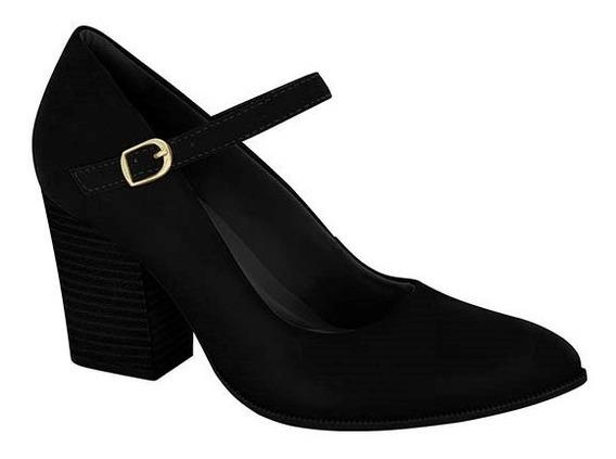 Zapatos Clásicos Mujer Nobuck Negro Taco Folia Con Hebilla