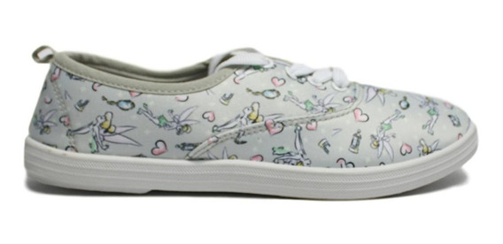 Tenis Flat Tinkerbell Color Gris Con Multi Tinkerbell´s