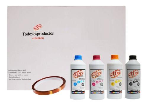 Imagen 1 de 9 de Kit 4 Tintas Premium T L P 100ml Cmyk Sublimación+ Papel A3