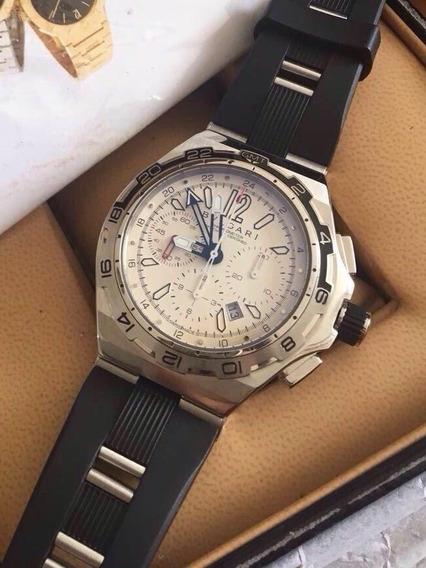 Relógio Masculino Bullgari Mostrador Branco Puls Borracha