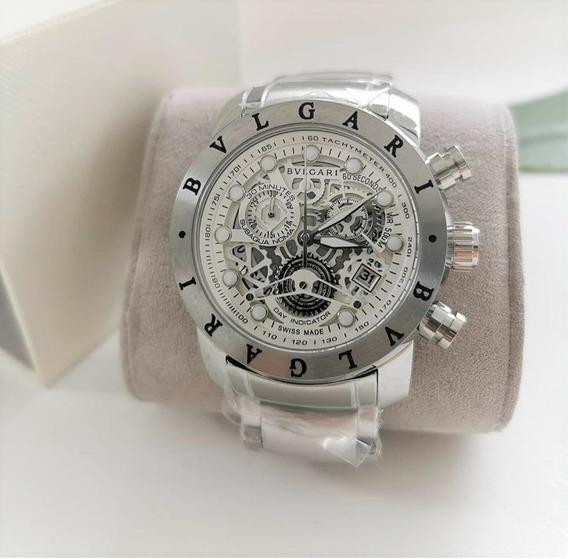 Relógio Masculino Bv Skeleton Prata E Fundo Branco Subaqua