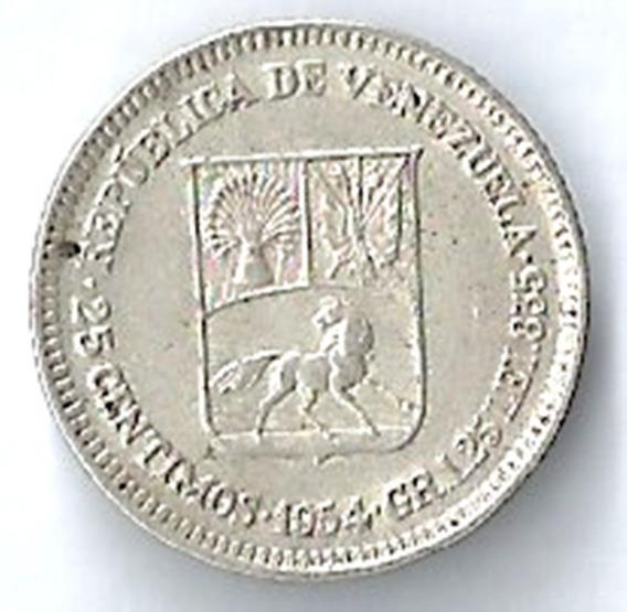 Venezuela 1954 25 Céntimos Moneda Plata No Circulada L12520