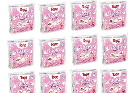 Kit 12 Pacotes De Fraldas De Pano Topz Cremer Menina Estampa