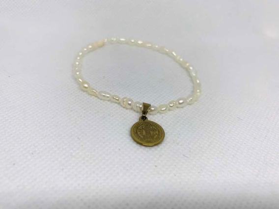 10 Pulseras Mini Perla De Río Con Medalla San Benito