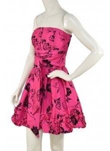 Vestido Rosa Mexicano Con Terciopelo Negro Sanjoy