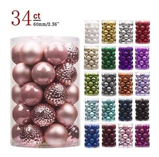 Decoracion 34 Esferas Navidad Plastico Duro Rosa Gold 2 Pulg