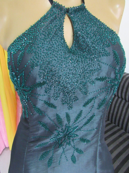 Vendo Vestido Verde Tafetá Bordado C/vidrilho Tamanho P, Conjunto Campinho, Campo Grande, Rj