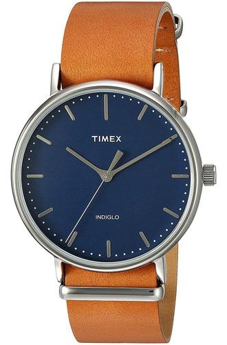 Imagen 1 de 3 de Timex Unisex Tw2p97800 Fairfield 41 Tan Leather Slip-thru...