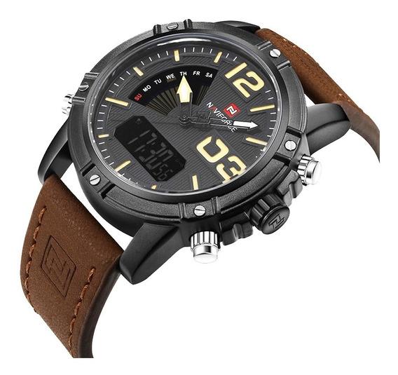Relógio Militar Esportivo Naviforce Pulseira Couro Original