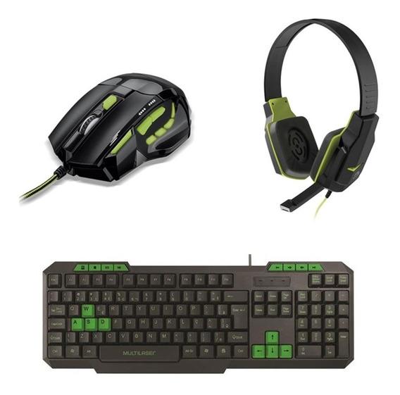 Kit Gamer Verde Mouse 2400dpi Mo208 Fone Ph146 Teclado Tc243
