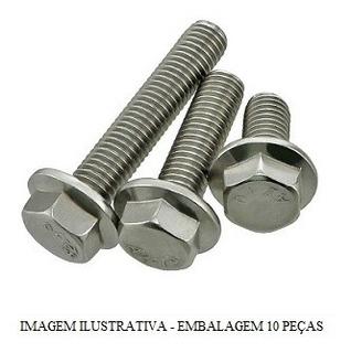 Parafuso Sext Flange M6x18 Cabeca 8mm Pacote 10 Pcs Fixacao