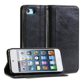 Carteira Capa Case Protetor iPod Touch 5 E 6 Couro Preto