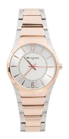 Reloj Nivada Swiss Np1617 Dorado Seminuevo Aún Con Garantía
