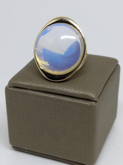 Anel Feminino Oval Pedra Lua Folheado Ouro Esposa Bodas C368