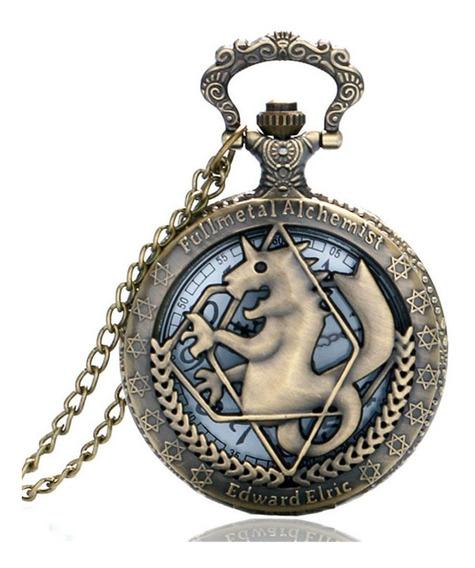 Relógio Bronze Fullmetal Alchemist Edward Elric De Bolso