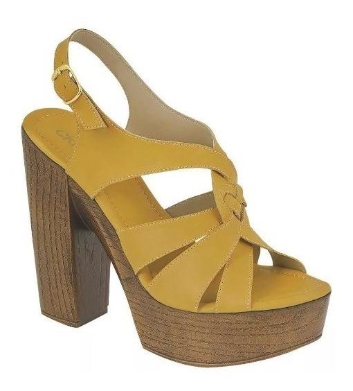 Zapatilla Zapato Dama Mujer Moda Mostaza Tipo Piel Tacon13cm