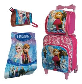 Mochila Bolsa Escolar Infantil Frozen Com Rodinha Kit Barato