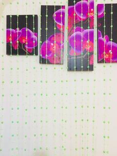 Cortina De Miçanga Verde Acrílica Modelo Cristal Decoração
