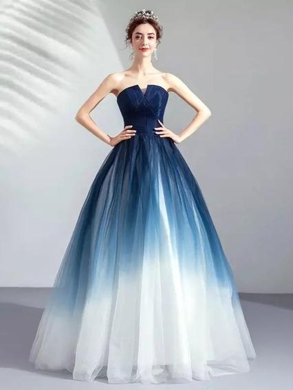 Hermoso Vestido Xv Años Azul Bicolor Lac Up Alj-181206002 N