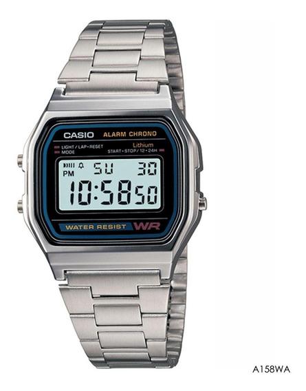 Relógio Casio A158wa 1df Prata Retro A Prova D