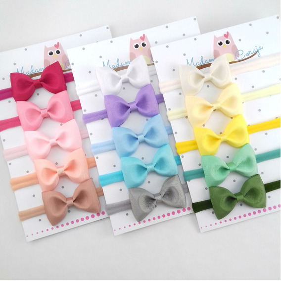 Faixas De Cabelo Bebê - Kit Com 15 Laços Enxoval Menina Bebe