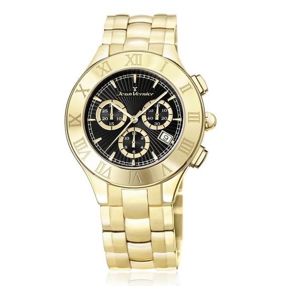 Relógio Jean Vernier Feminino Ref: Jv3672 Cronógrafo Dourado