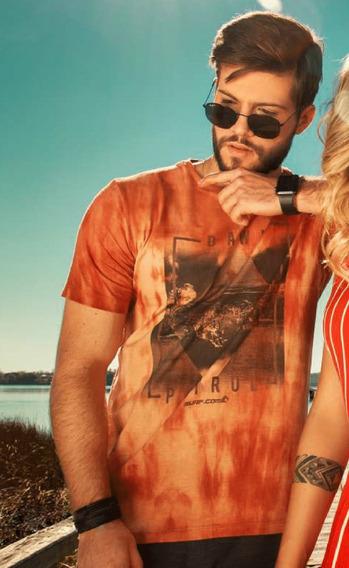 Camiseta Masculina Surf.com Estonada Splash Estampas Marrom