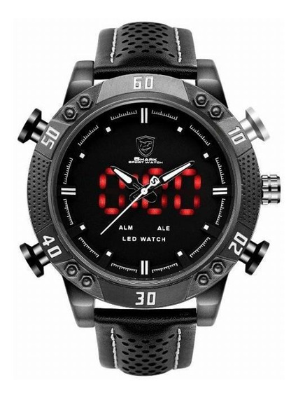 Relógio Masculino Shark Anadigi Sh-262 - Preto E Verde