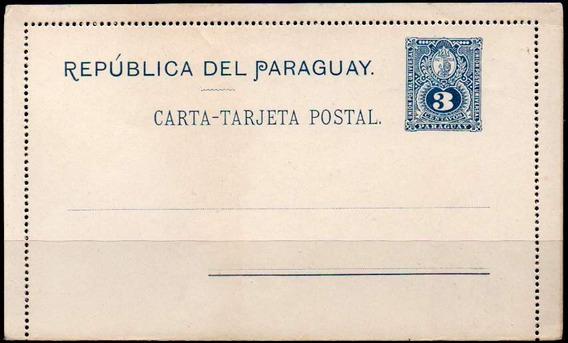 Paraguay 1891. Carta Tarjeta Postal De 3c Escudo