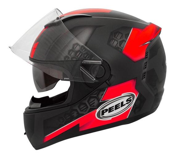 Capacete Moto C Oculos Peels Icon Dash Vermelho