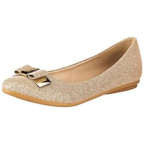 Zapatos Ballerina Flat Dama Dorado Miss Pink Sint Udt U32484