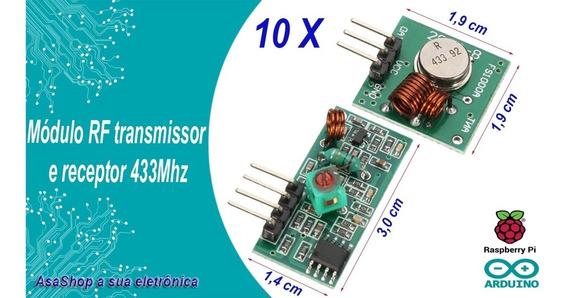 10 Unidades Módulo Rf 433mhz Transmissor E Recepto Arduino